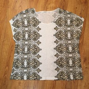 J. Crew  linen Short sleeve printed blouse